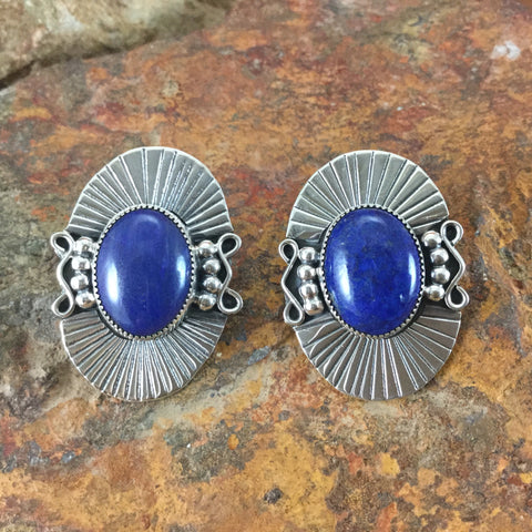 Blue Lapis Sterling Silver Earrings by PA Smith
