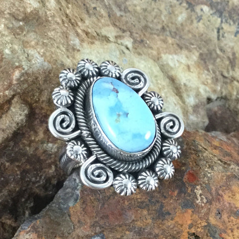 Golden Hill Turquoise Sterling Silver Ring by Jess MTZ Size 8.5