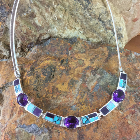 David Rosales Shalako Inlaid Sterling Silver Necklace w Amethyst