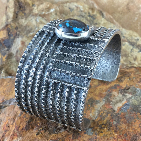 Persian Turquoise Cast Sterling Silver Bracelet -- One Of A Kind