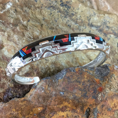 David Rosales Red Moon Inlaid Sterling Silver Bracelet