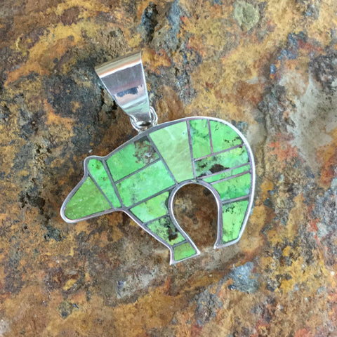 David Rosales Gaspiete Inlaid Sterling Silver Pendant Bear