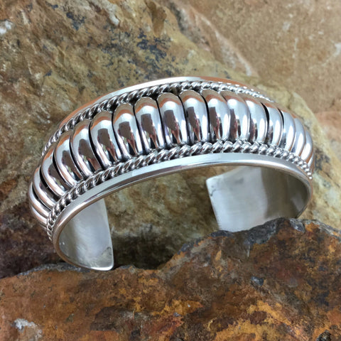 "Traditional Sterling Silver Cuff Bracelet by Tom Charlie 1""Wide"