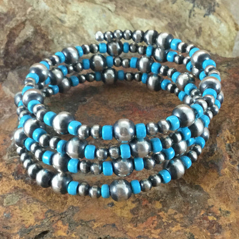 Three Band Beaded Bracelet w/ Kingman Turquoise and Sterling Silver