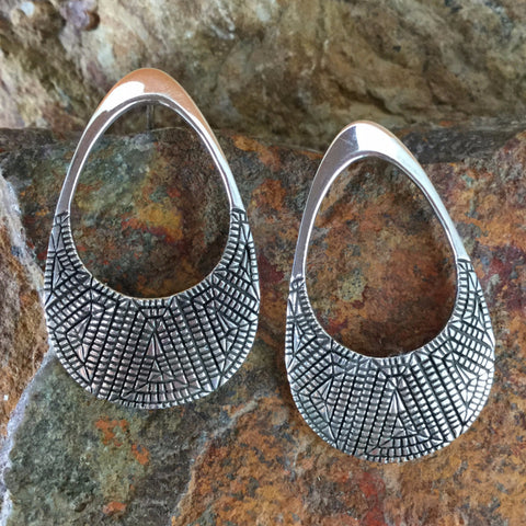 Traditional Sterling Silver Earrings by Elgin Tom -- Post