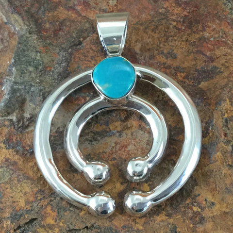 Kingman Turquoise Sterling Silver Pendant by Mildred Parkhurst