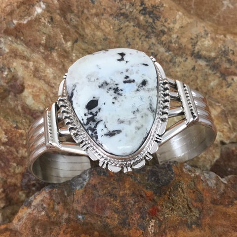 Large White Buffalo Sterling Silver Bracelet By G Nelson
