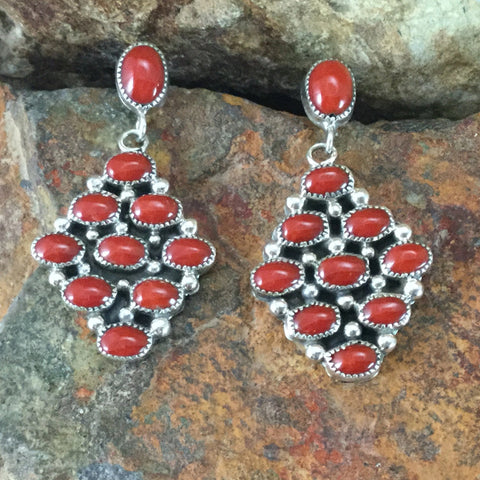 Red Coral Sterling Silver Earrings by Pearlene Spencer