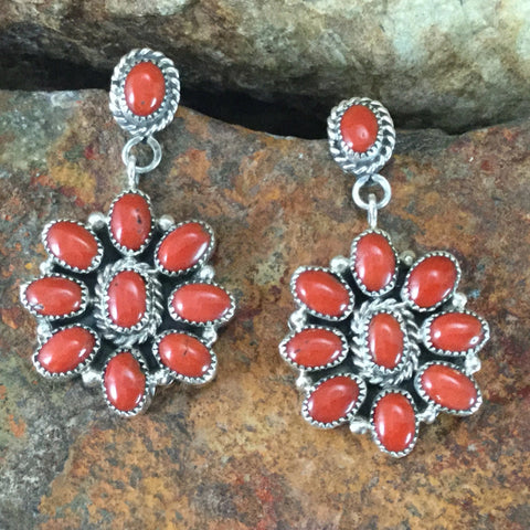 Red Coral Sterling Silver Earrings by Anna Spencer