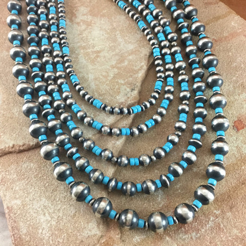 "24"" Five-Strand Sleeping Beauty Turquoise & Sterling Silver Beaded Necklace by J O White"
