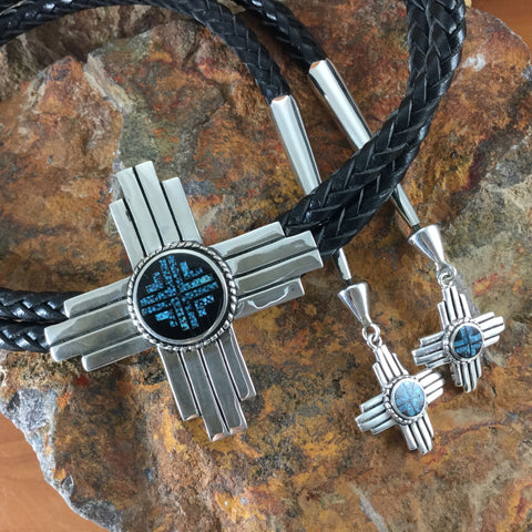David Rosales Ithaca Peak Turquoise Sterling Silver Bolo Tie