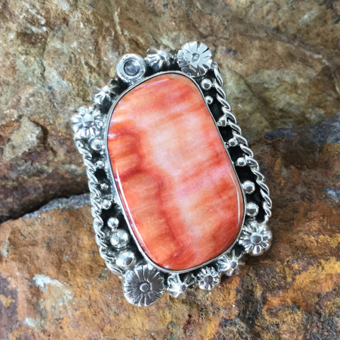 Orange Spiny Oyster Sterling Silver Ring by Billy The Kid - Size 7
