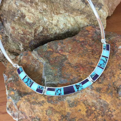 David Rosales Shalako Inlaid Sterling Silver Necklace