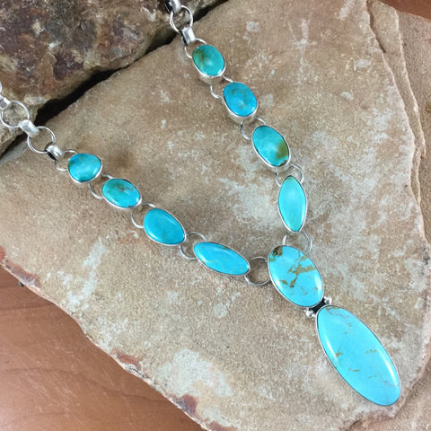 Kingman Turquoise Multi Stone Sterling Silver Necklace w/ Chain by Lyle Piaso
