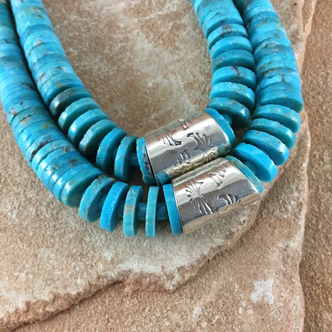 "18"" Two Strand Turquoise Mountain Sterling Silver Beaded Necklace by Pat Coriz"