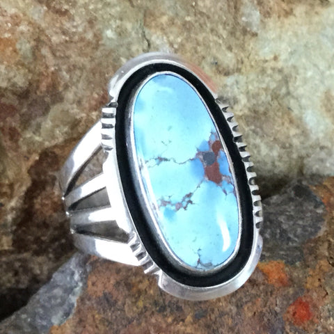 Golden Hill Turquoise Sterling Silver Ring by Wil Denetdale Size 9