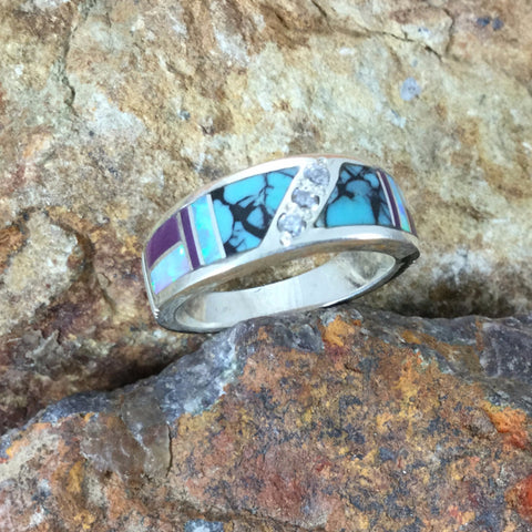David Rosales Shalako Inlaid Sterling Silver Ring w/ Cubic Zirconia