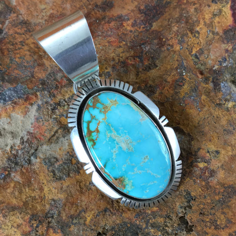 Royston Turquoise Sterling Silver Pendant by Eddie Secatero