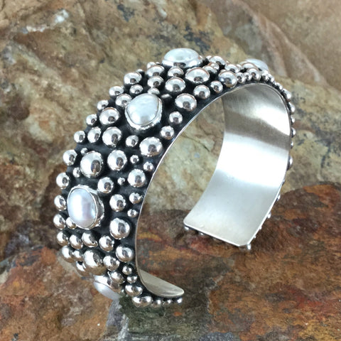 Million Drops Fresh Water Pearl Sterling Silver Bracelet by Diane Wiley
