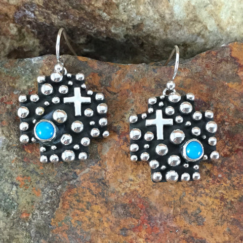 Million Drops Sleeping Beauty Turquoise Sterling Silver Earrings by Akee Douglas