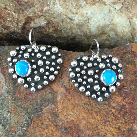 Million Drops Sleeping Beauty Turquoise Sterling Silver Earrings Hearts by Ray Coriz