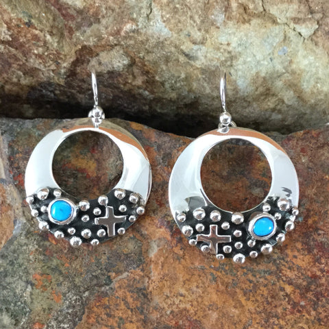 Million Drops Sleeping Beauty Turquoise Sterling Silver Earrings by Diane Wylie