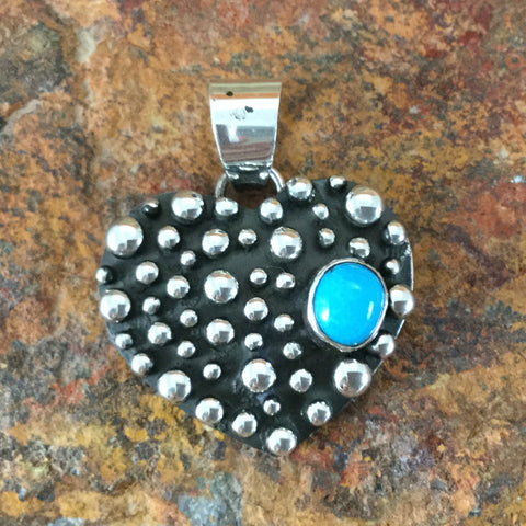 Million Drops Sleeping Beauty Turquoise Sterling Silver Pendant Heart by Ray Coriz