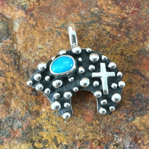 Million Drops Sleeping Beauty Turquoise Sterling Silver Pendant Bear by Akee Douglas