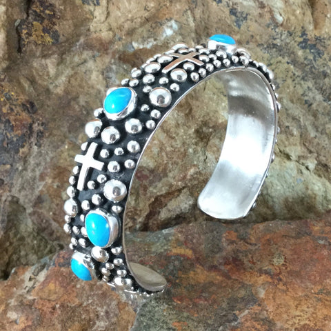 Million Drops Sleeping Beauty Turquoise Sterling Silver Bracelet by Akee Douglas