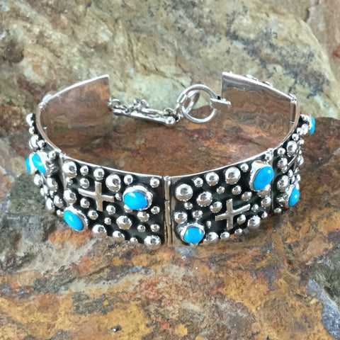 Million Drops Sleeping Beauty Turquoise Sterling Silver Link Bracelet by Akee Douglas