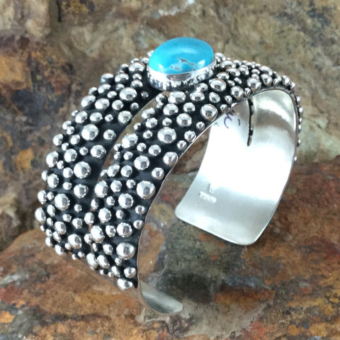 Million Drops Pilot Mountain Turquoise Sterling Silver Bracelet by Ray Coriz
