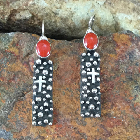 Million Drops Red Coral Sterling Silver Earrings by Ray Coriz