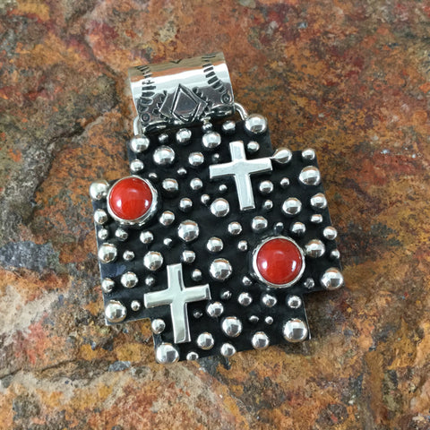 Million Drops Red Coral Sterling Silver Pendant by Akee Douglas