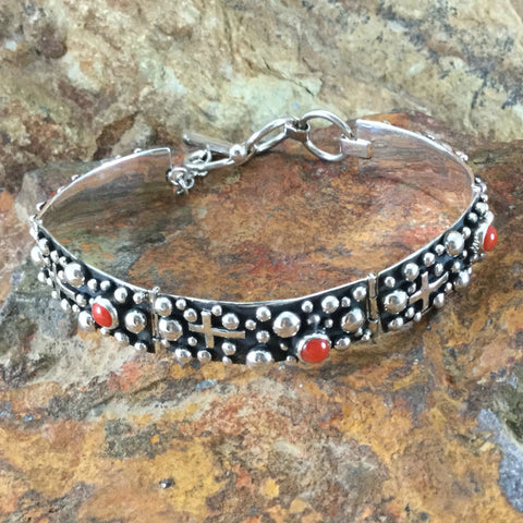 Million Drops Red Coral Sterling Silver Link Bracelet by Akee Douglas