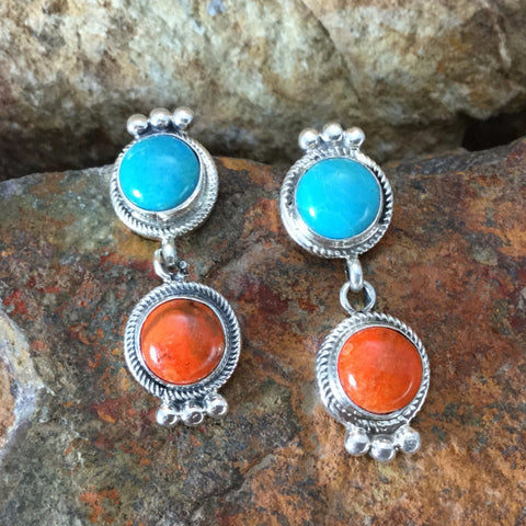 Kingman Turquoise Sterling Silver Earrings by Bobby Johnson