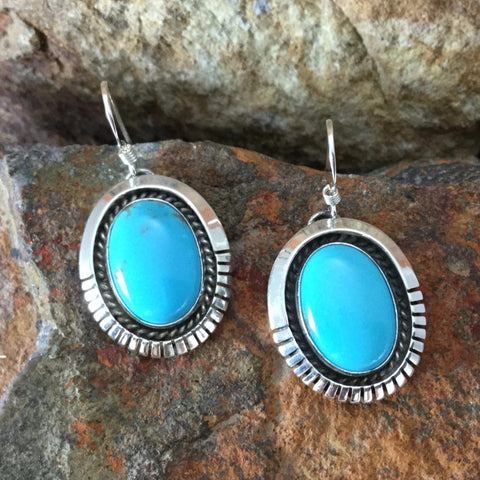 Kingman Turquoise Sterling Silver Earrings