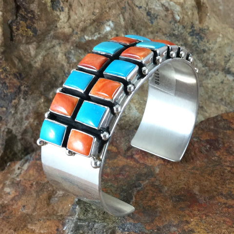Sleeping Beauty Turquoise & Orange Spiny Sterling Silver Bracelet by Philbert Secatero