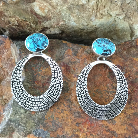 Traditional Kingman Turquoise Sterling Silver Earrings by Elgin Tom -- Post