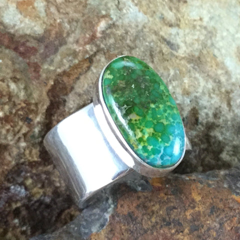 Sonoran Gold Turquoise Sterling Silver Ring by Randall Endito Size 9.5