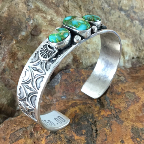 Sonoran Gold Turquoise Sterling Silver Bracelet by Sunshine Reeves