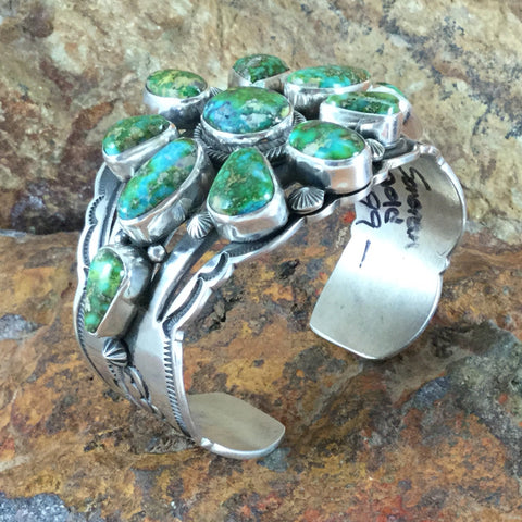 Sonoran Gold Turquoise Sterling Silver Bracelet Cluster by Aaron Toadlene