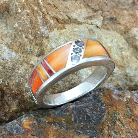 David Rosales Desert Fire Inlaid Sterling Silver Ring