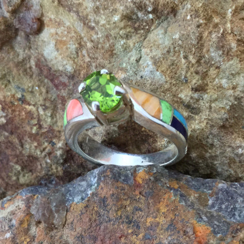 David Rosales Indian Summer Inlaid Sterling Silver Ring w/ Peridot