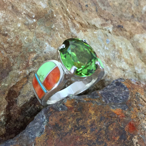 David Rosales Sunrise Inlaid Sterling Silver Ring w/ Peridot