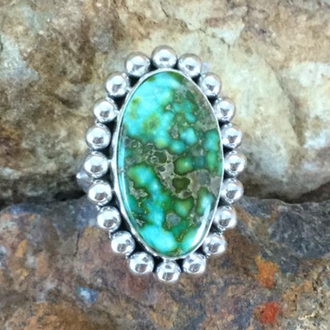 Sonoran Gold Turquoise Sterling Silver Ring by Artie Yelowhorse Size 7.5