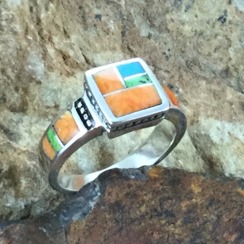 David Rosales Sunrise Inlaid Sterling Silver Ring