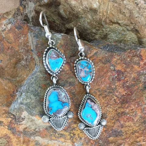 Tommy Jackson Bisbee Turquoise Sterling Silver Earrings