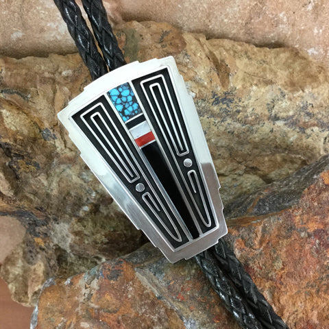 Inlaid Sterling Silver Bolo by Albert Nells