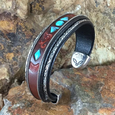 "Jerry Tucker Red Leather Cuff Bracelet w/ Kingman Turquoise 3/4"" Width"
