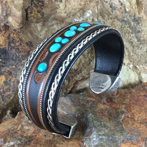 "Jerry Tucker Red & Black Leather Cuff Bracelet w/ Kingman Turquoise 1"" Width"